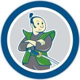 Desenhos animados dobrados braços do círculo do guerreiro do samurai Foto de Stock Royalty Free