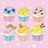 Desenhos animados doces da cor do queque Imagens de Stock