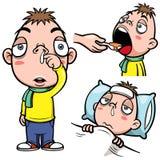 Desenhos animados doentes do menino ilustração royalty free