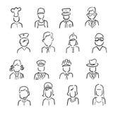 Desenhos animados dos ícones da profissão dos povos ilustração do vetor