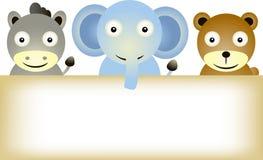 Desenhos animados dos animais com sinal em branco Imagens de Stock