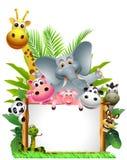 Desenhos animados dos animais com sinal em branco Imagem de Stock