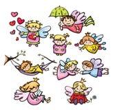 Desenhos animados dos anjos do vetor Fotografia de Stock Royalty Free