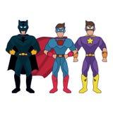 Desenhos animados dos caráteres de Superheros ilustração stock