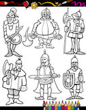Desenhos animados dos cavaleiros ajustados para o livro para colorir Fotografia de Stock Royalty Free
