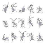 Desenhos animados dos coelhos da dança Fotos de Stock