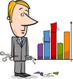 Desenhos animados dos dados do homem de negócios e do gráfico Imagens de Stock