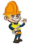 Desenhos animados dos desenhos animados de um trabalhador com a ilustração stock