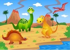 Desenhos animados dos dinossauros Foto de Stock Royalty Free