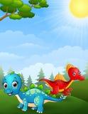 Desenhos animados dos dinossauros na selva ilustração royalty free