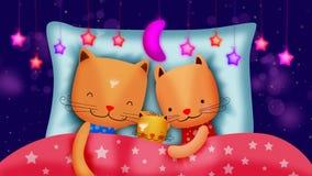 Desenhos animados dos gatos de fam?lia que dormem junto, fundo video do melhor la?o filme