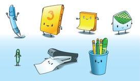 Desenhos animados dos materiais de escritório de Kawaii Fotos de Stock Royalty Free