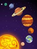 Desenhos animados dos planetas do sistema solar Imagens de Stock