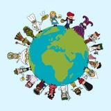 Desenhos animados dos povos da diversidade, equipamento distintivo, pla Imagens de Stock