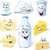 Desenhos animados dos produtos lácteos Foto de Stock