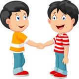 Desenhos animados dos rapazes pequenos que guardam a mão Fotos de Stock