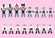 Desenhos animados dos trabalhos de equipa do negócio Imagem de Stock