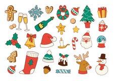Desenhos animados e ícones para o festival do ` s do Natal, a linha lisa e a ilustração Fotografia de Stock
