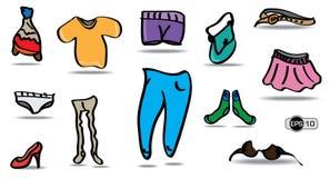 Desenhos animados e roupa colorida ajustados Fotografia de Stock Royalty Free