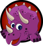 Desenhos animados engraçados da cabeça do dinossauro Imagens de Stock