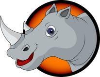 Desenhos animados engraçados da cabeça do rinoceronte Fotografia de Stock