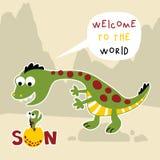 Desenhos animados engraçados da família do dinossauro no fundo dos vulcões ilustração do vetor