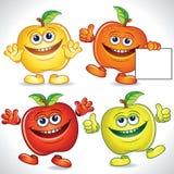 Desenhos animados engraçados das maçãs Fotografia de Stock