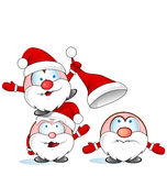 Desenhos animados engraçados do grupo de Papai Noel Fotos de Stock