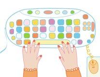 Desenhos animados engraçados do keayboard do computador Foto de Stock Royalty Free