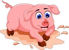 Desenhos animados engraçados do porco com poça de lama Fotografia de Stock Royalty Free