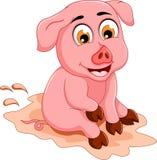 Desenhos animados engraçados do porco que sentam-se na poça de lama Imagens de Stock Royalty Free