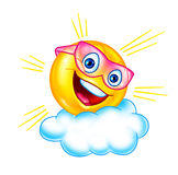 Desenhos animados engraçados do sol e da nuvem Foto de Stock