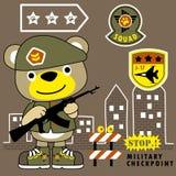 Desenhos animados engraçados do soldado com rifle Ilustração Royalty Free