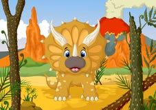 Desenhos animados engraçados do Triceratops com fundo da paisagem da floresta Fotos de Stock