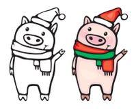 Desenhos animados engraçados dos porcos do vetor Imagens de Stock