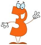 Desenhos animados engraçados Numbers-3 ilustração do vetor