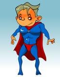 Desenhos animados engraçados o indivíduo no fato-macaco azul com um cabo vermelho Foto de Stock Royalty Free
