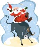 Desenhos animados engraçados Santa indicada no rodeio Imagem de Stock Royalty Free