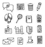 Desenhos animados escritos à mão ajustados do negócio do ícone do escritório do vetor Fotografia de Stock Royalty Free