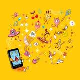 Desenhos animados espertos do telefone ilustração do vetor