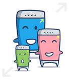 Desenhos animados espertos do telefone de Kawaii em tamanhos diferentes Imagem de Stock
