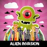 Desenhos animados estrangeiros do vetor da invasão Fotografia de Stock Royalty Free