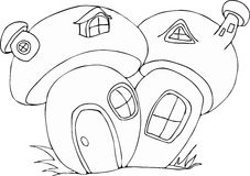 Desenhos animados feericamente da casa do cogumelo do estilo da garatuja Fotos de Stock