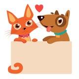 Desenhos animados felizes Cat And Dog Friendship Melhores amigos ilustração stock