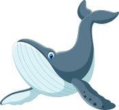 Desenhos animados felizes da baleia azul ilustração royalty free