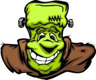 Desenhos animados felizes da cabeça do monstro de Frankenstein Halloween Fotos de Stock Royalty Free