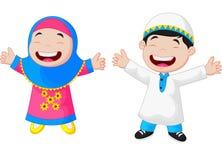 Desenhos animados felizes da criança dos muçulmanos ilustração royalty free