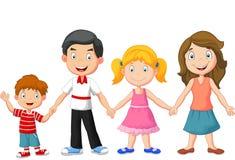 Desenhos animados felizes da família que guardam as mãos Foto de Stock