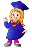 Desenhos animados felizes da menina da graduação Foto de Stock Royalty Free