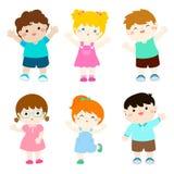 Desenhos animados felizes da nacionalidade da variedade das crianças ilustração stock